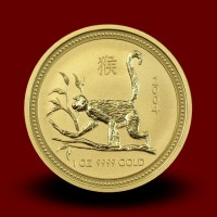 Zlati Lunin koledar OPICA 1 OZ / Gold Lunar MONKEY / Lunare Goldmünze AFFE