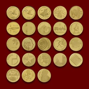RARE COLLECTION OF THE SLOVENE COMMEMORATIVE GOLD COINS 1991-2006 **