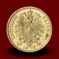 3,98 g, 10 Mark gold coin William I, Prussia (1872A)