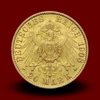 7,96 g, Zlati 20 mark Wilhelm II., Prusija (1908A)