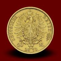 7,96 g, Zlati 20 mark Wilhelm I., Prusija (1872C)
