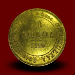 6,45 g, zlatnik 20 MARKKAA, Nikolaj II (1913-S)