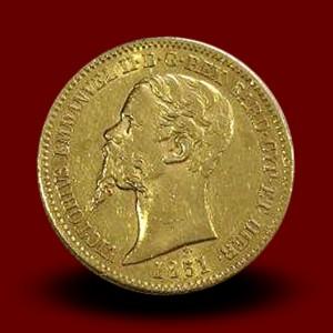 6,45 g zlatnik 20 LIR V. Emmanuele, 1851
