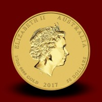15,5940 g, Australian Lunar Gold Coin - Year of Rooster 2017