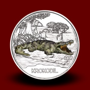 16 g (Cu/Ni), Krokodil - 3 EUR zbirateljski kovanec (2017), serija Živali v barvah