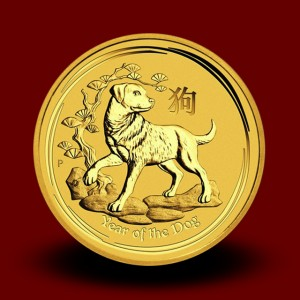 1,5710 g, Australian Lunar Gold Coin - Year of Dog 2018