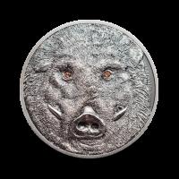 31,1 g, Srebrni kovanec Mongolija - Divji prašič 2018