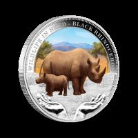 31,14 g, Black Rhinoceros Silver coin - Wildlife in need Series