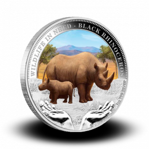 31,14 g, Black Rhinoceros Silver coin - Wildlife in need Series