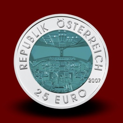 16,5 g (Ag/Nb) - Avstrijsko letalstvo / Ősterreichische Luftfahrt (2007), bimetalni kovanec** - RAZPRODANO