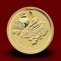 Zlati Lunin koledar ZAJEC 1/4 OZ / Gold Lunar RABBIT / Lunare Goldmünze HASE