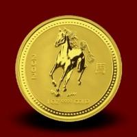 Zlati Lunin koledar KONJ 1 OZ / Gold Lunar HORSE / Lunare Goldmünze PFERD