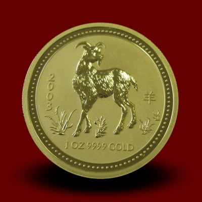 Zlati Lunin koledar KOZA 1 OZ / Gold Lunar GOAT / Lunare Goldmünze ZIEGE