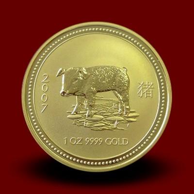 Zlati Lunin koledar PUJS 1 OZ / Gold Lunar PIG / Lunare Goldmünze SCHWEIN