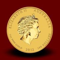 Zlati Lunin koledar ZMAJ 1 OZ / Gold Lunar DRAGON / Lunare Goldmünze DRACHE