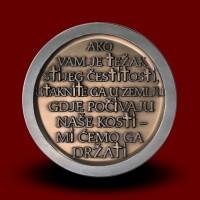 Medalja iz medenine v barvi srebra Pliberk in križev pot