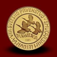 Priložnostni zlati kovanec SP v smučarskih poletih 10 000 DIN  PLANICA 1985