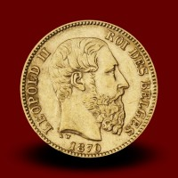 6,46 g, Zlati kovanec / 20 Bfrs Leopold II
