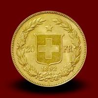 Zlati kovanec 20 CHF, Helvetia / 20 Francs gold coin, Helvetia / 20 Franken Goldmünze, Helvetia - NOVO