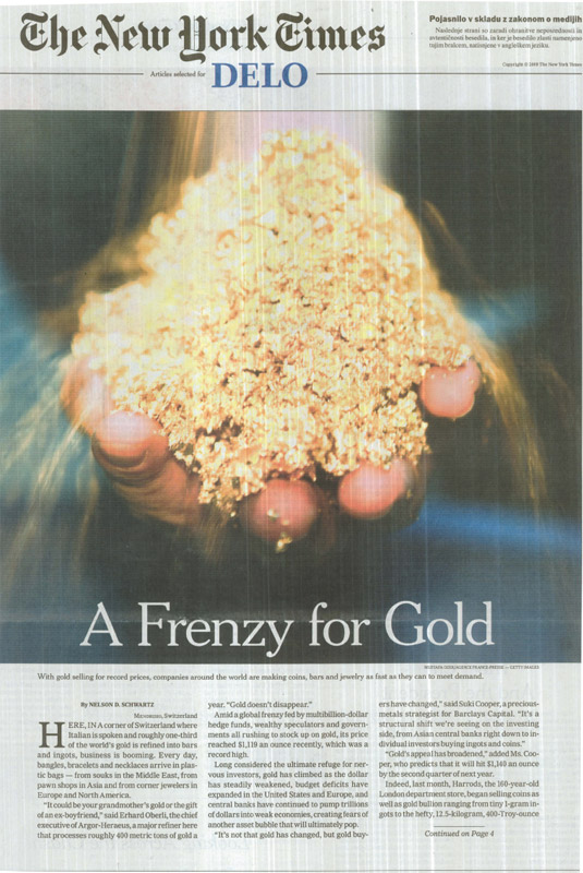 A Frenzy for Gold, The New Yourk Times
